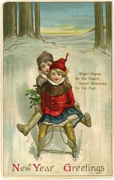 Vintage New Year Sled Image - Cute! - The Graphics Fairy
