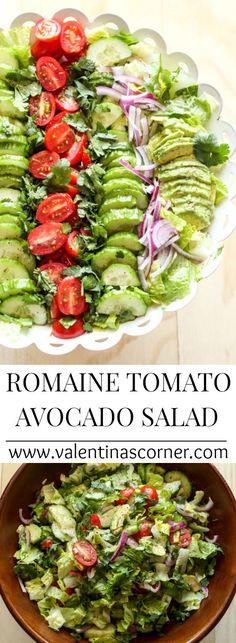 Romaine Avocado Tomato and Cucumber Salad with a light dressing. ValentinasCorner.com