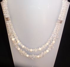 Necklace made with Swarovski crystals and cultured pearls.