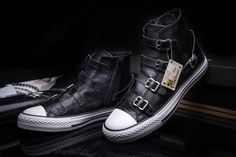 Limited Edition Converse VS ASH Multi Buckles Black Leather Chuck Taylor All Star High Tops Sneakers