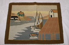 Vintage Grenfell Labrador Hooked Rug Mat Folk Art Sailboats Boat Houses 14 By 18 Sold 302 00