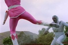 """The Power Stealer"" Power Rangers Season 1, Pink Power Rangers, Kimberly Hart, Amy Jo Johnson, Pink Costume, Mighty Morphin Power Rangers, Suits For Women, Masks, Spandex"