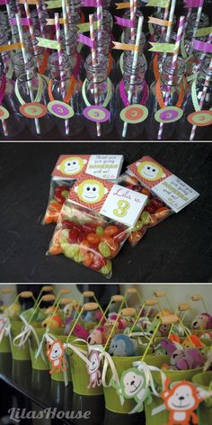 DIY drink bottles and favors for Lila's monkey birthday party (Favor tags by Pinwheel Lane)