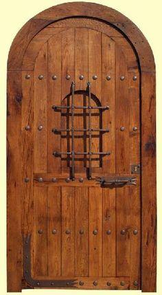 puerta rustica de madera de roble maciza 22x120x8, arco de medio punto