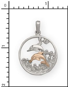 Nautical Jewelry - 14Kt./Sterling Silver Charm with Dolphin, All Sterling Silver & Sterling / 14Kt. Combo Items, 2-SGC011