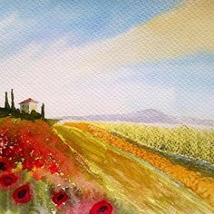 'Tuscany landscape watercolor' by Marko Ivancevic Landscape Prints, Watercolor Landscape, Watercolour Painting, Sennelier Watercolor, Tuscany Landscape, Italy, The Originals, Places, Paintings