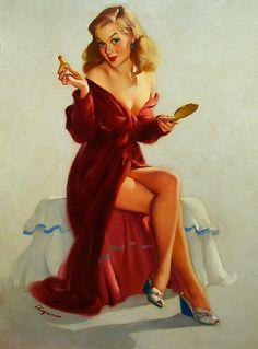 "24x30 1950/'s Elvgren Pin-Up Poster Rolling Pin /""The Honeymoon/'s Over/"""