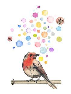 Robin / acuarela - collage