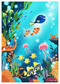 I was asked by delve to create this Finding Dory artwork for their newsletter and alternative film poster gallery. Had a blast making it! Underwater Art, Fish Art, Ocean Illustration, Disney Wallpaper, Illustration Art, Sea Illustration, Disney Art, Art, Mermaid Art