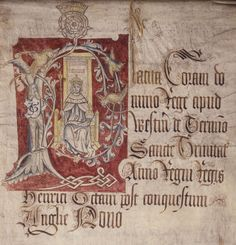This document shows the young crowned Henry VIII enthroned under the Tudor rose with orb and sceptre. The image might have been a stock one that had previously been deployed for Henry VII and adapted once Henry VIII came to the throne. This is one of several surviving images of the young Henry where he is clean shaven. It is alleged that Catherine of Aragon implored Henry to shave on a daily basis, but history does not reveal whether he agreed to her request.