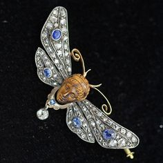 Antique French Brooch Pendant Gold Diamonds Sapphires Mercury & Butterfly (#6103