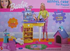 "Barbie Kennel Care Pet Playset (2001) by Mattel. $79.99. For Ages 3+ Years. ADULT ASSEMBLY REQUIRED. All the provided details are to the best of my ability & may not be exact; colors, sizes & details may vary.. CONTENTS: Grooming Table, 2 Kittens, Pet House, Working See-Saw, Jungle Gym, Ball, Bone, Bowl, Brush, Comb, Hair Dryer, Bottles, Pretend Canned Food, Pretend Bag of Food, Flying Disc.. All items are pretend & intended for Barbie & other 11.5"" fashion size dolls; dol..."