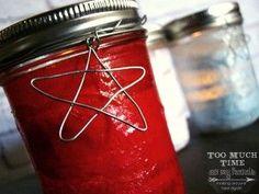 Fourth of July Mason Jar Craft - Red, White, Blue Luminaries Votives | Mason Jar Crafts Love Feature
