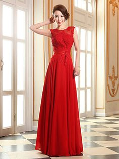 Formal Evening/Prom/Military Ball Dress - A-line Jewel Floor-length Georgette   LightInTheBox