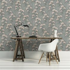 papier peint Au fil des couleurs Small Space Interior Design, Interior Design Living Room, Interior Decorating, Print Wallpaper, Pattern Wallpaper, French Country Cottage, Deco Design, Boho Decor, John Lewis