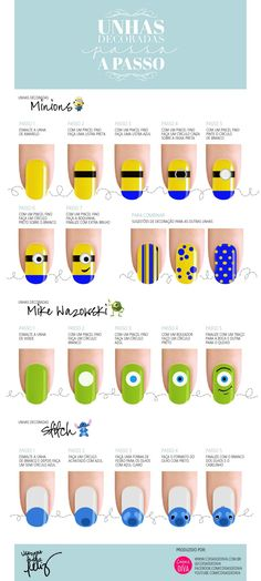 We assembled the best nail art designs. Make sure to check them all out. Nail Art Diy, Diy Nails, Cute Nails, Manicure, Nails For Kids, Girls Nails, Disney Nail Designs, Nail Art Designs, Minion Nails