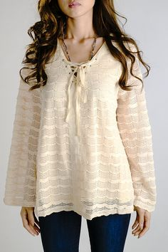 Peasant Cream Top with Tie