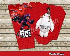 Big Hero 6 Popcorn Box - with Custom Name Birthday Party Baymax Hiro Popcorn Box - Digital File