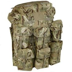 PLCE Field Pack Air Support Backpack in British Forces Multi-Terrain Pattern Camo .....The PLCE Air Support Field Pack gives you an incredible 150 litre load carrying capacity and is constructed from durable and water resistant 1,000 Denier MTP fabric. Features include a removable aluminium lightweight frame with foam padding, elasticated floating removable lid (with zipped top and inside pocket), lid velcro patch (for ID badge or blood group), ventilated mesh back to increase air flow to…