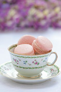 Between the crunchy layers of Strawberries and Cream French Macarons is a delicious vanilla-bean filling