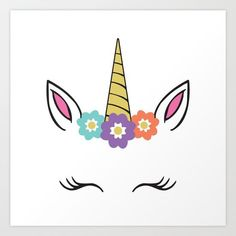 Unicorn Face Flowers Eyelashes Horn Ears Art Print by Design Gallery - X-Small Face Painting Unicorn, Unicorn Face, Unicorn Images, Unicorn Pictures, Unicorn Birthday Parties, Unicorn Party, Unicorn Cookies, Canvas Prints, Art Prints