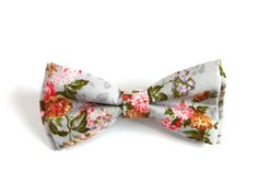 Floral Bow Tie with Grey Background and Rose Green and by RubiBell