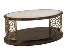 Limited Production Design & Stock: Classic Oval Walnut  Gold Antique Mirrored Centerpiece Coffee Table * Gold Gilded Accents * 22 x 54 x 35 inches * Once Sold Out No More Will Be Made