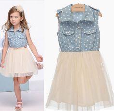 In stock 2013 teenage girls fashion clothes Denim Dress Puff with belt 9A~14A teenage girls' dresses 3pcs/lot