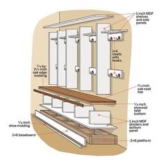 The Collection of 1600 Woodworking Plans - Open Lockers: Design Details Get A Lifetime Of Project Ideas and Inspiration! Woodworking Projects Diy, Woodworking Plans, Woodworking Furniture, Woodworking Basics, Woodworking Workshop, Design Scandinavian, Mudroom Laundry Room, Bench Mudroom, Mud Room Bench Plans