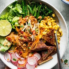 vegan gado gado salad tempeh portion