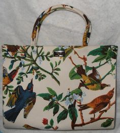 1960 Margaret Smith of Gardiner Maine Canvas Handbag Shopper Tote with Vintage Bird and Floral Pattern