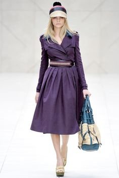 Burberry London Fashion Week '12. Eggplant coat with a full skirt, yes please!