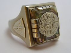 SALE - Vintage Mexican Sterling Silver Biker Ring Aztec Mayan Calendar Ring