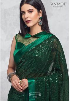 Bridal Lehenga Choli, Saree Wedding, Wedding Wear, Party Wear Sarees Online, Simple Sarees, Indian Silk Sarees, Green Saree, Georgette Fabric, Work Sarees