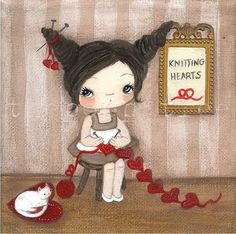 knitting hearts for Angela...