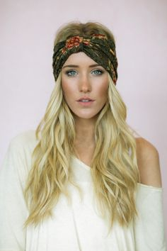 Grunge Lace Turban Headband - Floral Stretchy Lace Head Wrap - Women's Fashion Sparrow Style Wide Headband on Etsy, $28.00