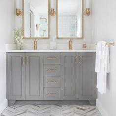 Gray and Gold Bathrooms, Transitional, Bathroom, Benjamin Moore Chelsea Gray, Erin Gates Design