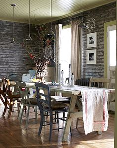 Mismatched Chairs Bus Sign Chippy Furniture I D Warm The Walls Up But White Works Here Organizations Pinterest Mismat