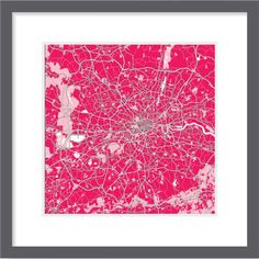 London map in pink colours. Ideal picture artwork for your wall. London Map, City Maps, Artwork, Pink, Colours, Rugs, Canvas, Unique, Wall