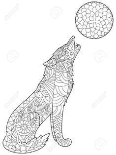 55585878 Wolf Coloring Book For Adults Vector Illustration