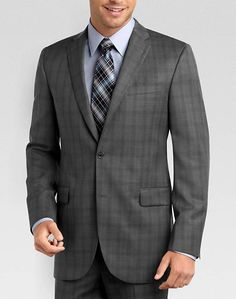 Jack Victor Select Gray Plaid Modern Fit Suit | Mens Wearhouse