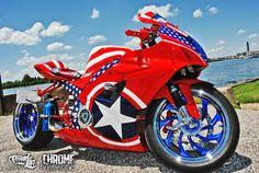 "Wounded Warrior Jarrad ""Hot Rod"" Davenport's a patriotic Captain America themed Suzuki GXS-R 1000 #SC13 #GoUSA"