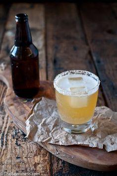Golden ale beer cocktail (St. Germain, citrus, vodka, honey simple syrup, and Belgian golden ale)
