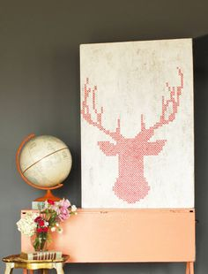 Love this cross-stitch painting DIY by @Alix Adams on @HGTV's Design Happens. #howto #decor #makesomethingpretty
