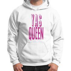 Yas Queen Pink Gildan Hoodie (on man)