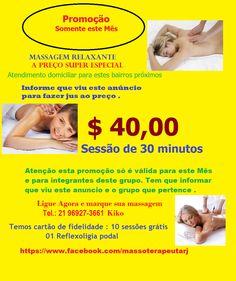Massagem feita na maca , cama ou no chão , esta massagem é feita em 30 minutos , dependendo da localidade pode ter um acréscimo do valor de deslocamento de mais 10,00