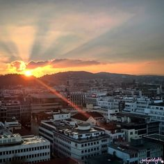 Sonnenuntergang im Kessel - Blick in Richtung Stuttgarter Westen
