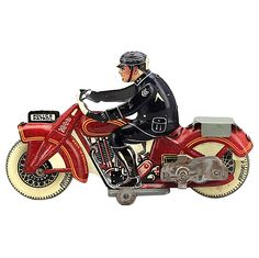 A charming wind-up toy motorcycle, made in the 1930s of tinplate lithographed in red, yellow, blue and white.