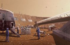"""Las Vegas """"Mars World"""" will cover an entire simulated Martian crater with a colony inside it (concept art by Brian Cho)"""
