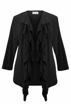 Ruffle Trim Cardigan-Plus Size Cardigan-Avenue     54